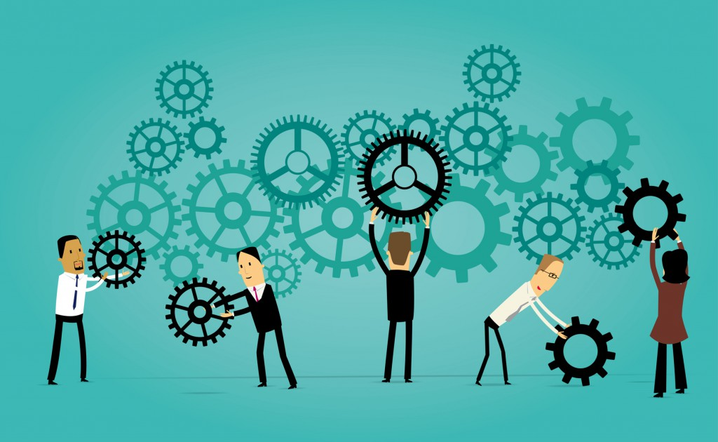 Group of cartoon business people holding gears